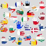 Hands with European Union flags Royalty Free Stock Photo