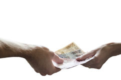 Hands exchange euro money Stock Photo