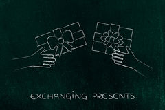 Hands exchanging Christmas presents Royalty Free Stock Image