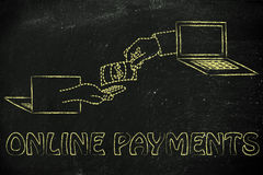 Hands exchanging money, concept of selling and buying online. Money and payments on the web: laptops and virtual hands exchanging banknote royalty free stock photography