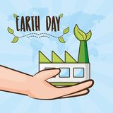 Earth day card. Hands with factory ecological earth day card vector illustration royalty free illustration