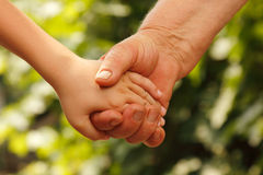 Hands family grandson and old grandmother. Over nature outdoor Royalty Free Stock Photography
