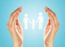 Hands with the family. Hands protect the family icon Royalty Free Stock Photos