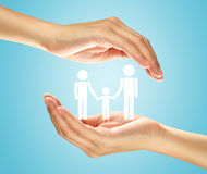 Hands with the family. Hands protect the family icon Stock Photos