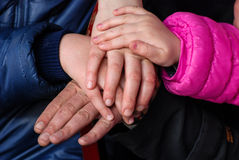 Hands of  family  son,mother ,   daughter, and  father. Royalty Free Stock Image