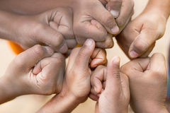 Hands of  family together closeup Stock Photos