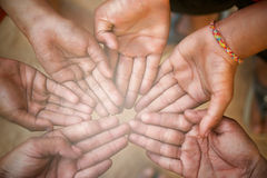 Hands of  family together closeup Stock Image