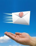 Hands fast mail clouds Stock Photo