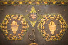 Hands of Fatima, Hamsa . Ouarzazate. Morocco. A chest with protective hands of Fatima, Hamsa . Ouarzazate. Morocco stock photo