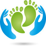 Hands, feet, physiotherapy, podology, logo Royalty Free Stock Photography