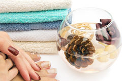 Hands and feet spa treatment Stock Photo