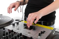 Hands of female disc jockey Stock Image