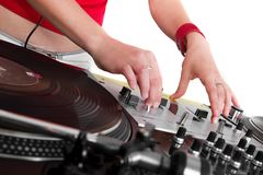 Hands of female DJ playing Royalty Free Stock Photos