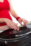 Hands of female dj scratching Stock Photography