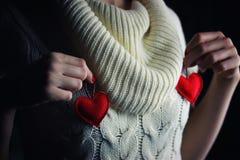 Hands female heart breast stock photos