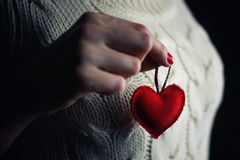 Hands female heart breast royalty free stock images