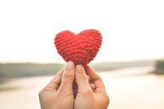 Hands female holding red heart royalty free stock photo