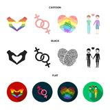 Hands, feminism, fingerprints. Gay set collection icons in cartoon,black,flat style vector symbol stock illustration web. Hands, feminism, fingerprints. Gay set Royalty Free Stock Photos