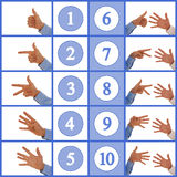 Hands figuring numbers one to ten. Hand signs counting up from one to ten in sign language Stock Photos