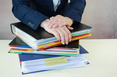 Hands and files Royalty Free Stock Photo