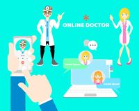 Hands and finger holding mobile phone calling doctor, online health care chat with male and female doctor, telehealth concept. Flat vector illustration cartoon stock illustration