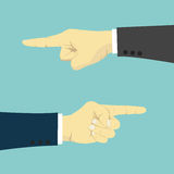 Hands with finger pointing left and right. Business vector illustration Stock Image