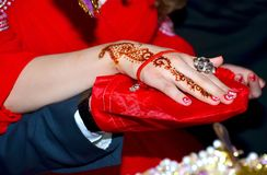 Hands and fingers are drawn to henna . Female hand with henna tattoo . Soft selective focus, close up . There are red lacquer and royalty free stock image