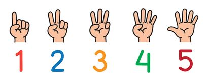Hands with fingers.Icon set for counting education. Icon set ands and fingers for counting education from 1 to 5. Childrens vector illustration Royalty Free Stock Photos