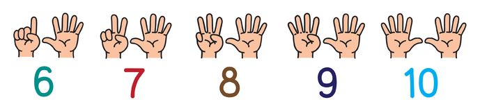 Hands with fingers.Icon set for counting education. Icon set of hands and fingers for counting education from 6 to 10. Childrens vector illustration Stock Photos