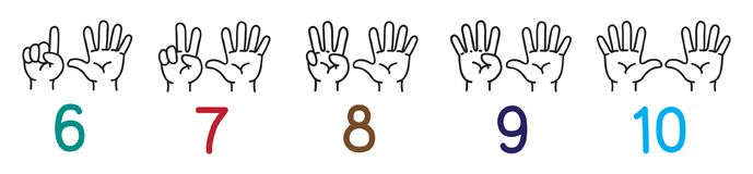 Hands with fingers.Icon set for counting education. Icon set of hands and fingers for counting education from 6 to 10. Childrens vector illustration Royalty Free Stock Photos