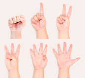 Hands and fingers sign symbol gesture from zero to Stock Image