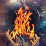 Fire keeper. Hands with fire on abstract space background. Human elements were created with 3D software and are not from any actual human likenesses Stock Images