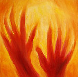 Hands with Fire Energy Royalty Free Stock Photos