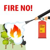 Hands with a fire extinguisher extinguish a fire. A hand with a fire extinguisher extinguishes a forest fire. Banner protection of. The forest. Flat design vector illustration