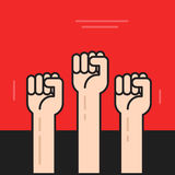 Hands with fists raised up vector, symbol of protest, revolution Royalty Free Stock Images