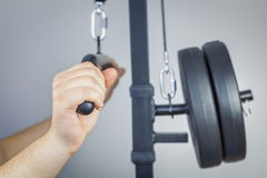 Hands on fitness equipment Royalty Free Stock Photo