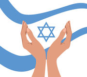 Hands and flag with Magen David Stock Photography