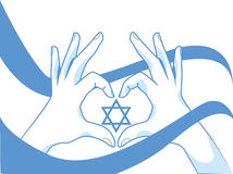 Hands and flag with Magen David. Patriotic Israeli illustration. Hands and flag with Magen David, for an Independance Day Stock Photos