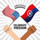 Hands with flags to celebrate freedom juneteenth. Vector illustration Stock Images