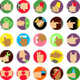Hands flat icons set. Stock Images