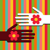 Hands with flowers Royalty Free Stock Photo