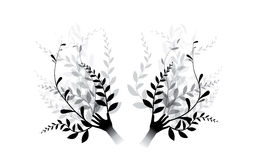 Hands and flowers. In black and white royalty free illustration