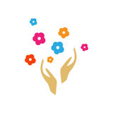 Hands with flowers logo. Minimal illustration with hands and flowers that can be used for logo or as isolated graphic element Royalty Free Stock Image