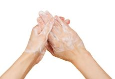 Hands in the foam of soap Stock Photo