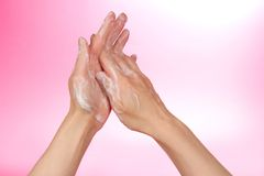 Hands in the foam of soap Royalty Free Stock Photography