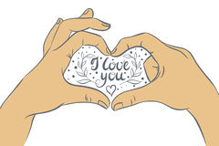 Hands folded heart with the inscription I love you. Vector illustration, hand drawing Stock Photography