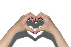Hands folded in the shape of a heart against a white wall, isolate hearts, children`s hands, love child, shadow stock images