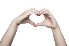 Hands folded in the shape of a heart indicate the love, copy spa Stock Image