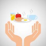 Hands food preparing breakfast Royalty Free Stock Image
