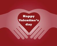 Hands in the form of heart Isolated on red backgroun. Hand in the form of heart Isolated on red background. Happy Valentine`s Day  Invitation, Greeting or Gift Royalty Free Stock Image